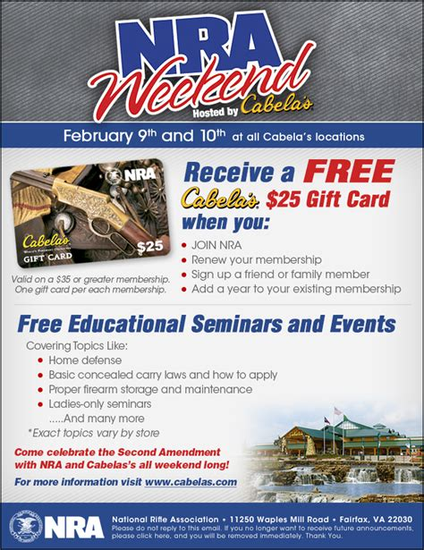 Can You Use Cabela S Gift Card At Bass Pro - cabelas now doing 25 gift card 2 9 10th for joining or renewing nra hipoint