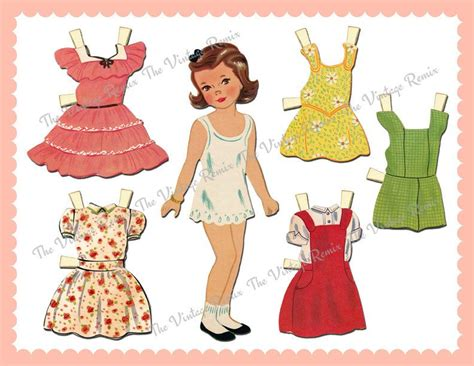 vintage paper doll digitial download by yourcraftephemera instant download printable paper doll digital collage