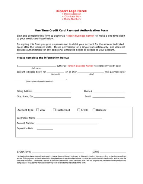 Visa Credit Card Authorization Form Template One Time Credit Card Payment Authorization Form In Word And Pdf Formats