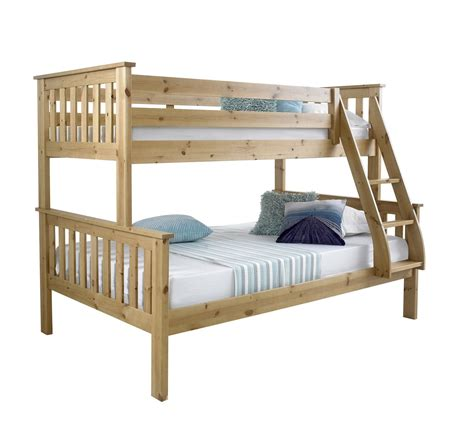 Bluemoon Beds 4ft Atlantis Triple Sleeper Bunk Bed Solid Bunk Beds With Mattresses