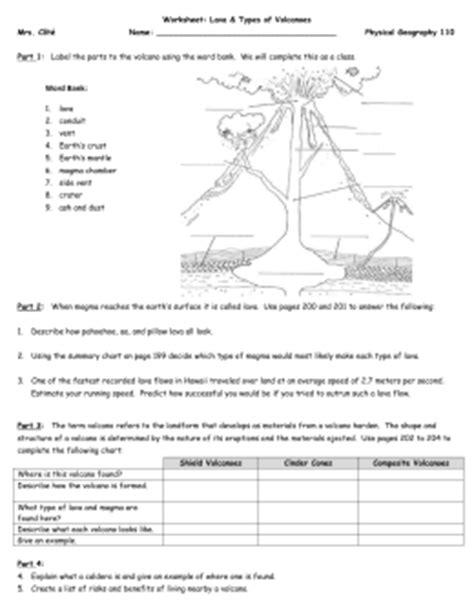Types Of Volcanoes Worksheet