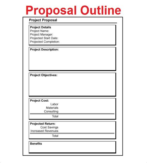 proposal outline templates 20 free free word pdf
