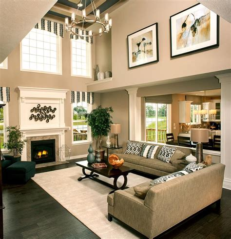 breaking    story wall high ceiling living room