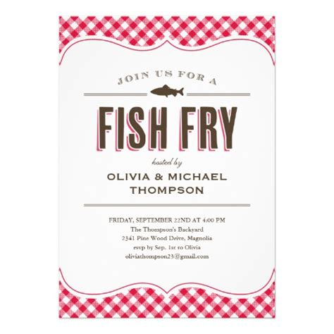 Fish Fry Party Invitations 5 Quot X 7 Quot Invitation Card Zazzle Fish Fry Menu Template
