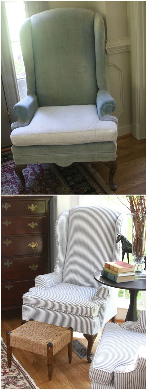 updated vintage ethan allen wingback chairs  lovely blue ticking stripe fabric custom