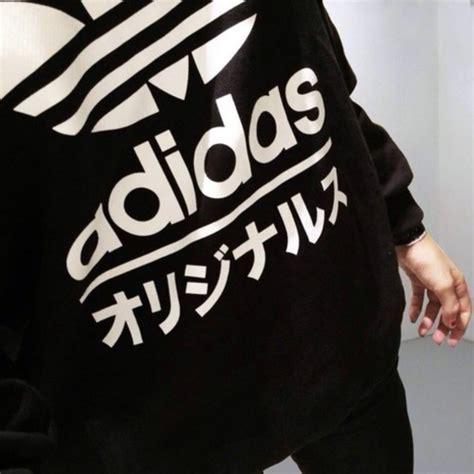 Sweater Wanita Korea Adidas 03 White shirt adidas sweater adidas letters black and white adidas sweater black white