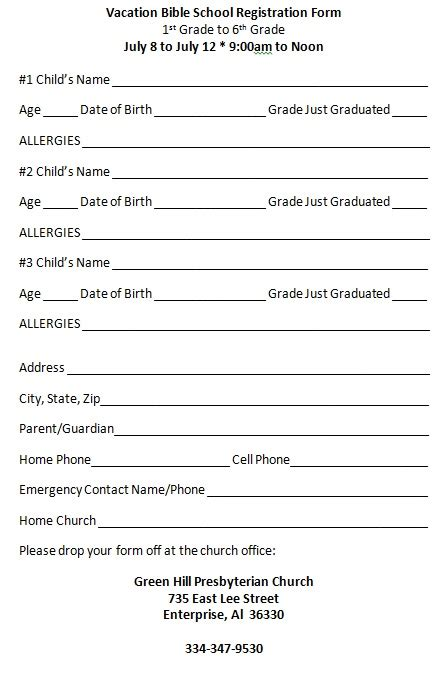 school registration form template word vacation bible school registration form green hill presbyterian church