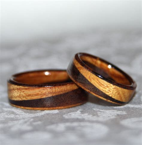 Wooden Wedding Rings Our One 5 by Wooden Rings Or Wedding Bands With Diagonal Design 2 Rings