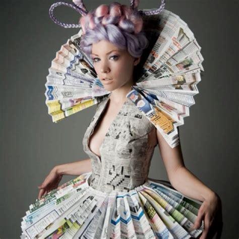 desain dress dari bahan bekas a newspaper dress love it interesting pinterest