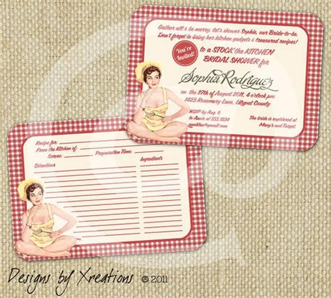 blank recipe cards for bridal shower retro bridal shower invitation template with blank recipe