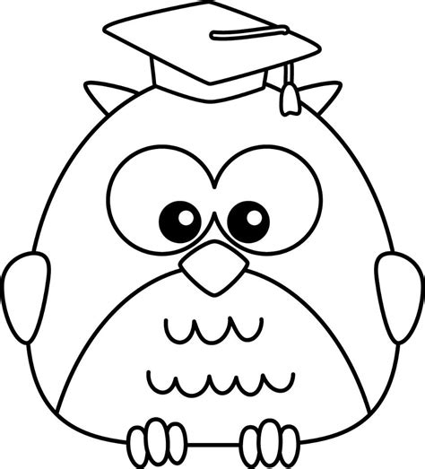 coloring pages for kindergarten graduation simple owl drawing coloring pages