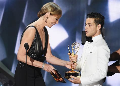 emmy rossum and rami malek emmys rami malek surprised by emmy win for mr robot