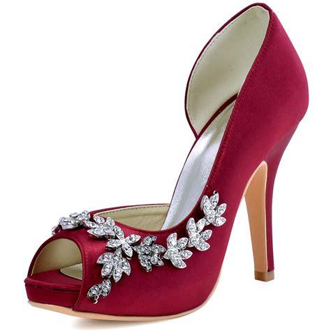 burgundy wedding heels burgundy peep toe high heel platforms rhinestone satin