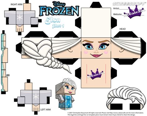 Papercraft Pattern - elsa from disney s frozen cubeecraft template p1 by