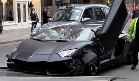 Lamborghini Wrecked Wrecked Matte Black Lamborghini Aventador Towed Gtspirit