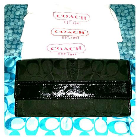 Coach Wallet 3 Fold Authentic 1 83 coach clutches wallets authentic coach tri fold wallet black monogram from s