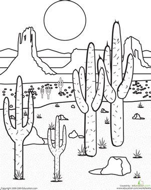 color the desert landscape worksheet education com