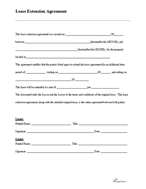 printable yearly rental agreement lease extension form extensions free printable and free