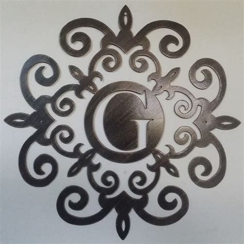 Family Initial Monogram Inside A Metal Scroll With G Initial Letter Wall Decor