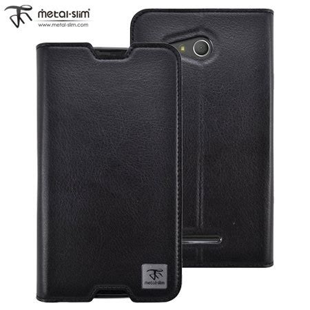 Sony Xperia E4g Style Leather metal slim sony leather style sony xperia e4g wallet black mobilezap australia