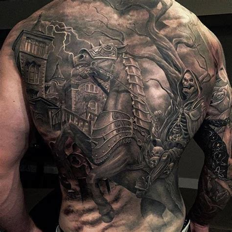 full upper body tattoo cost black and grey scary tattoo on full back by greg nicholson
