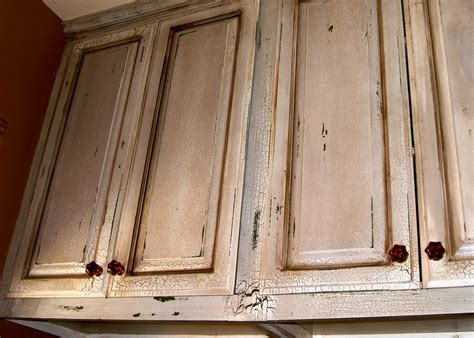 Distressed Kitchen Cabinet by Cabinets On Pinterest Kitchen Cabinets Crackle Painting