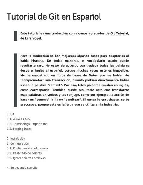 Git Tutorial Exle | pdf de programaci 243 n tutorial de git en espa 241 ol