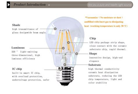 Gas L Filament by E27 Retro Bulb Led Light Cob Edison Filament Dimmable L 4w 6w 8w Ac110v 220v Ebay