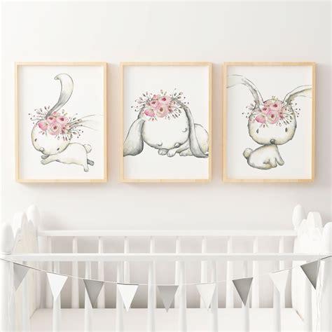 Woodland Boho Floral Bunny Nursery Wall Art Print Set Bunny Nursery Decor
