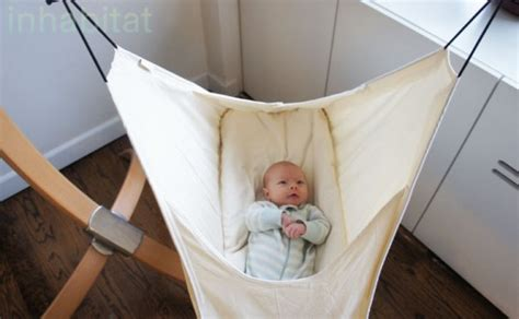 using a swing for baby to sleep inhabitots reviews the hushamok rocking hammock baby