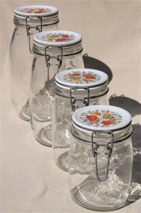 vintage glass canisters kitchen spice of kitchen seasonings vintage glass jars