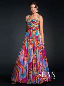 floor length multi color printed evening dress of