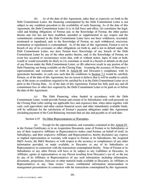 Commitment Letter Sungard Clause Page 100