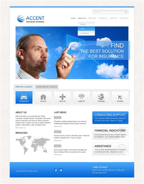 Responsive Templates For Website by Insurance Responsive Website Template 43328