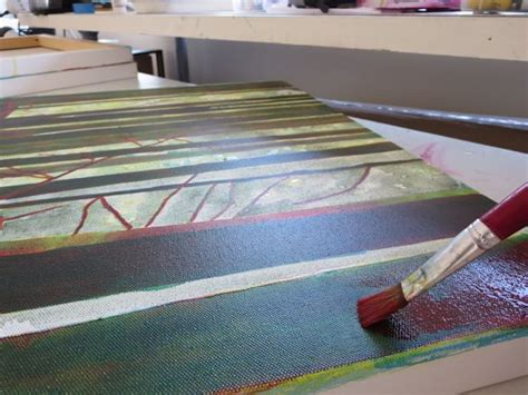 layering acrylic paint on canvas how to pant zentangle mixed media trees step by step