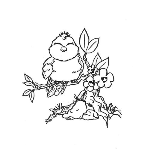 cute bird flowers branch adult coloring pages