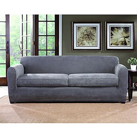sure fit grey slipcover buy sure fit 174 ultimate stretch chenille 2 cushion sofa