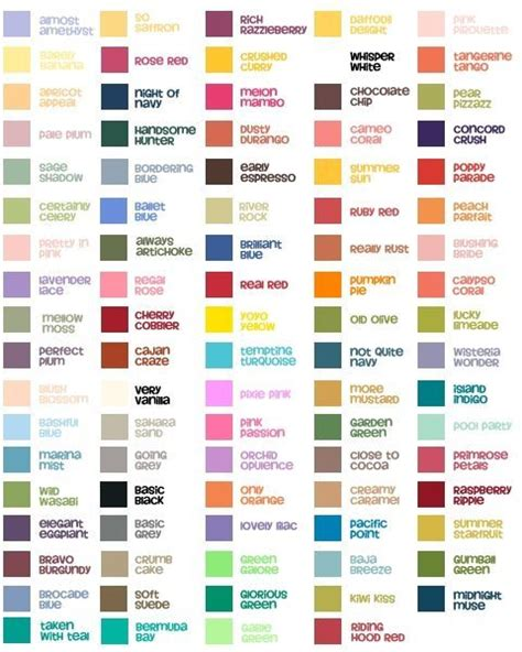 every color complete stin up color chart with in colors
