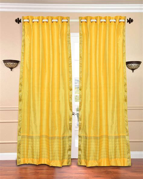 lemon yellow sheer curtains yellow ring top sheer sari curtain drape panel piece ebay