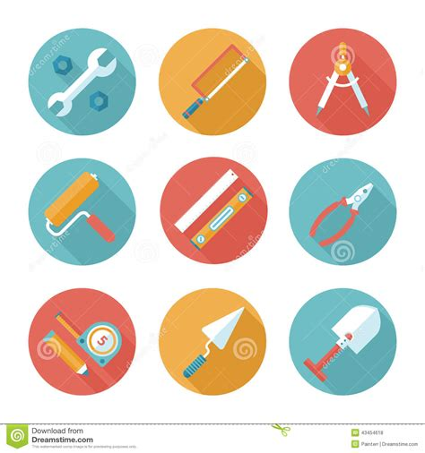 working tools flat icon set stock vector image 40282698 trendy flat working tools icons vector illustration stock