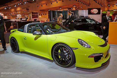 porsche targa green techart porsche 911 targa makes essen 2014 a green show