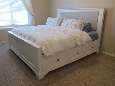 diy king bed frame here s what it looks like today nightstand tutorial is on