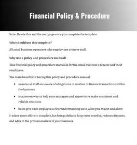 finance sop template policy and procedure templates word pdf