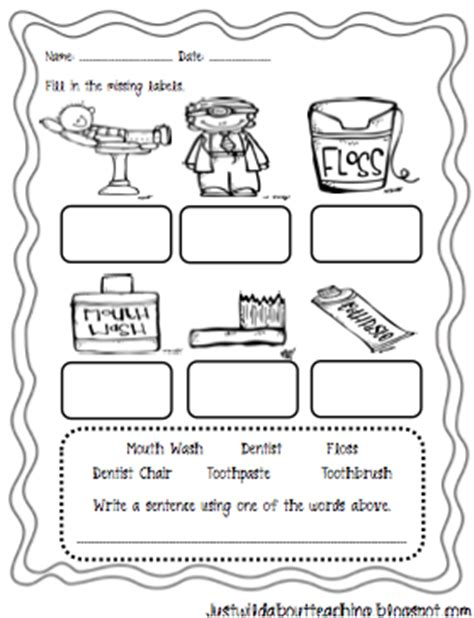 teeth printables for preschool and kindergarten mamas just wild about teaching dental healthy craftivity packet