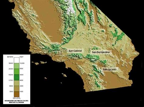 elevation map california elevation map of california map travel