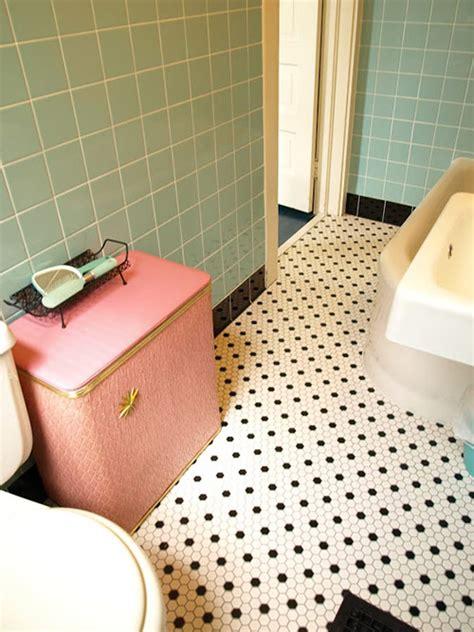 retro bathroom flooring kristen and paul s 1940s style aqua and black tile