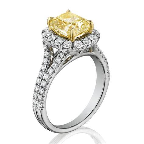 henri daussi amdsy yellow cushion engagement ring