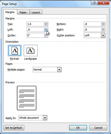 layout dialog box word 2010 text box word 2010 modifying page layout full page