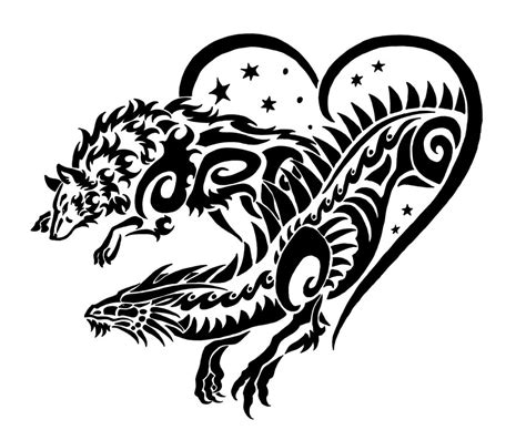 dragon and wolf tribal by sunima on deviantart