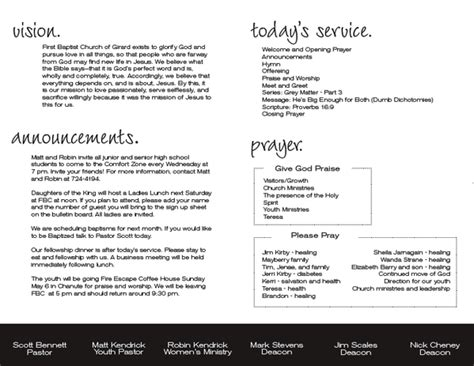 bulletin layout ideas nice church bulletin announcements and prayers layout